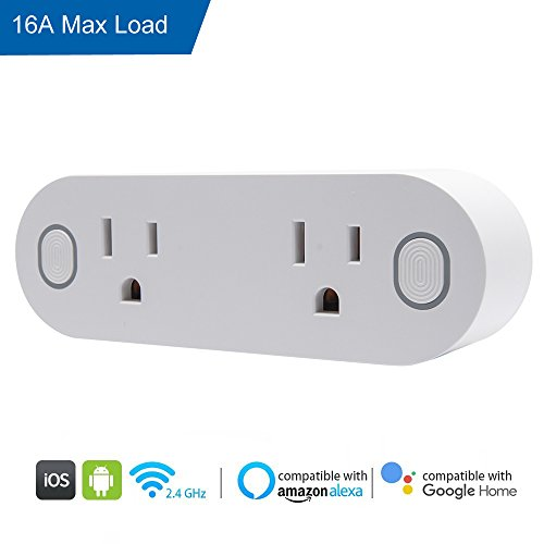 Top Max Alexa Echo Smart Plug  2 In 1 Smart Plug Mini Outlet With Energy Monitoring  Dual Outlets Plug  Work Individually Groups No Hub Required  16A Timing Switch Compatible With Alexa Google Home