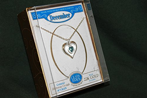 GLASS BARON DECEMBER BIRTHSTONE HEART PENDANT WITH 18