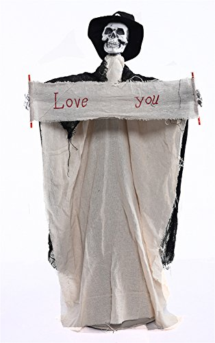 CHOP MALL®Happy Halloween Décor Horrible Hanging Couple Bridegroom Bride Skull Battery Operated With Flashing Eyes and Haunted Evil Sounds