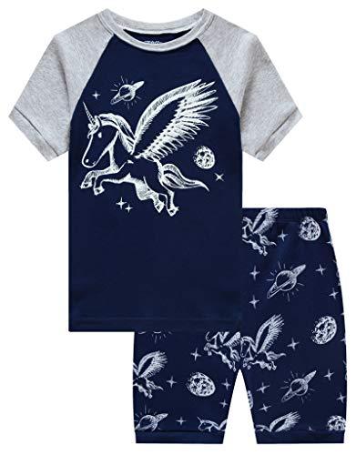 Unicorn Big Girls Summer Short Sleeve Pajamas 100% Cotton Pjs Size 8 -