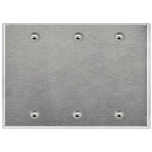 ENERLITES Blank Device Metal Wall Plate, Corrosive Resistant, Size 3-Gang 4.50