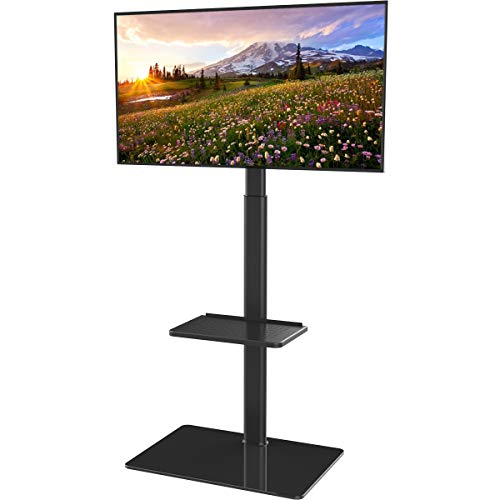 Flat Screen Tv Stands Mounts - Universal Floor TV Stand with Mount for 19 to 42 inch Flat Screen TV, 100 Degree Swivel,Adjustable Height and Tilt Function, 2 Shelves HT2001B