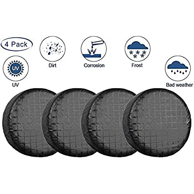 "LIHNG Tire Covers for Trailer, SUV, Van, Auto, Camper,Set of 4 Tire Covers Waterproof UV Coating ProtectionTire Protectors,Universal Fits 26"" to 29"" Tire Diameters(Black): Automotive"