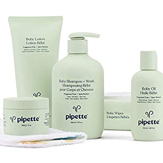 Pipette Baby Essentials Baby Wash and Moisturize Kit with Renewable Plant-Derived Squalane (6-Piece Set)