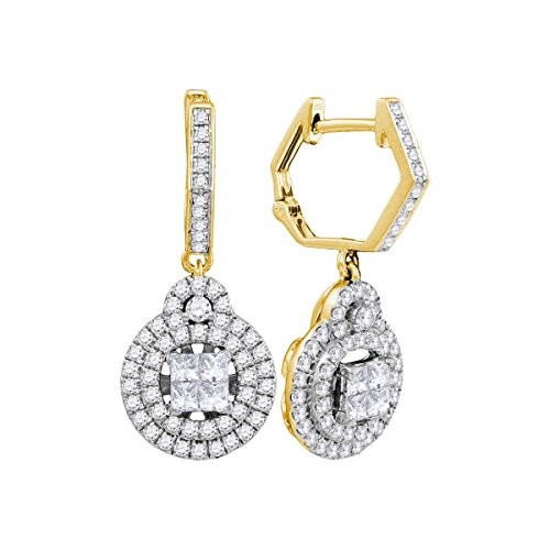 14kt Yellow Gold Womens Princess Diamond Double Circle Frame Dangle Earrings 1.00 (Double Circle Diamond Earrings)