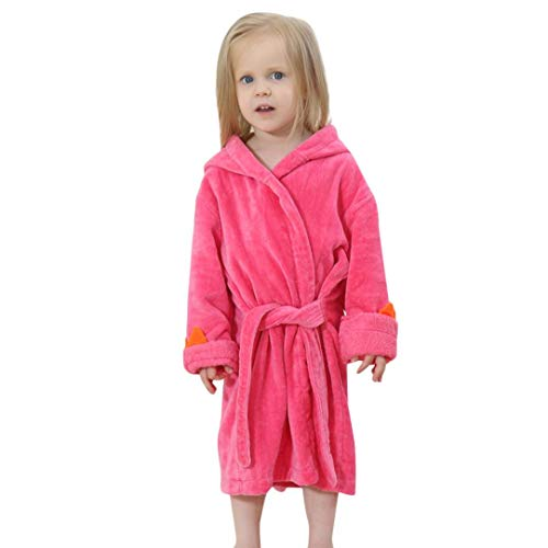 iOPQO Pajama for Kids, Baby Bathrobe Cartoon Dinosaur Hooded Bath Towel Pajamas -