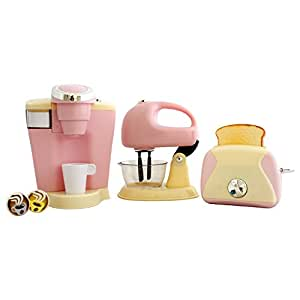 PlayGo Pretend Play Gourmet Kitchen Appliance Set - Single Serve Coffee Maker, Mixer & Toaster, 3 Piece, Pink