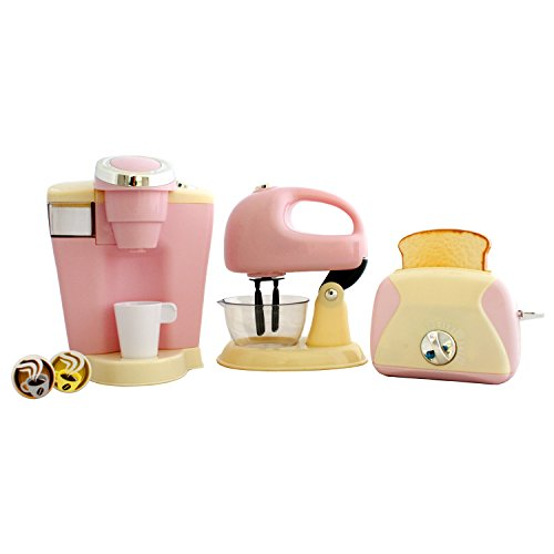 PlayGo Pretend Play Gourmet Kitchen Appliance Set - Single Serve Coffee Maker, Mixer & Toaster, 3 Piece, Pink (Pretend Kitchen Mixer compare prices)
