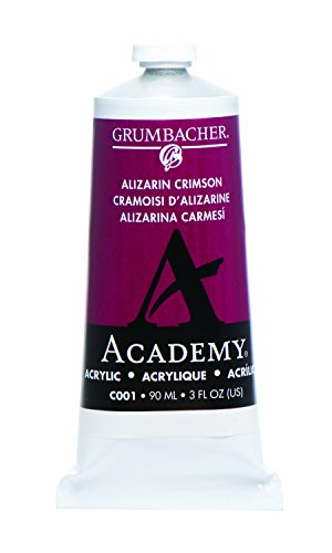 Grumbacher Academy Acrylic Paint, 90ml/3 oz Metal Tube, Alizarin Crimson