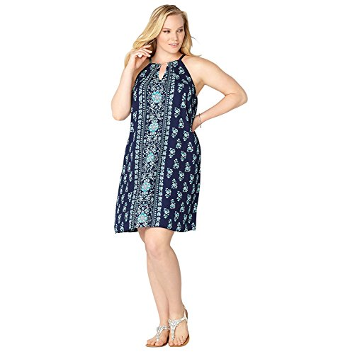 AVENUE Women's Mini Floral Panel Dress, 14/16 Navy
