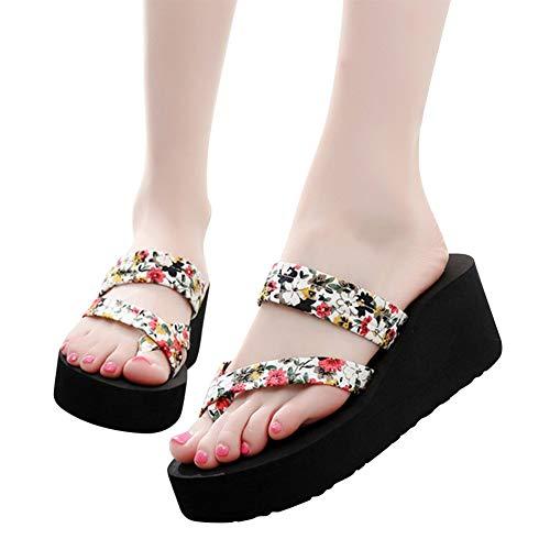 Filles Épais Confort Compensée PantouflesFemmes Plage Tongs Fond Sandales Plateforme Chaussures Blanc4 Casual Antidérapant Tenthree pqUzVSM