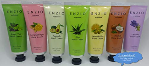 """ENZIO Professional Grade Shea Butter Based Hand Cream Lotion Gift Set """"Party Pack"""" (7 variety x 3 = 21 tubes total) (Free of Parabens, Benzophenone, Talc, and Color Additives) by ENZIO (Image #1)"""