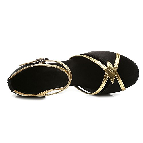 Model SWDZM UK Shoes Dance Latin 7cm Satin Black Women 225 Ballroom xwHHYqBAn
