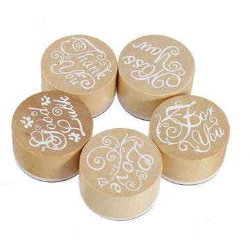 Wooden Rubber Stamps Round Handwriting Wishes DIY Tool - Stationery Stamp & Bookmarks - (Thank You) - 1 X Wooden Rubber Stamp