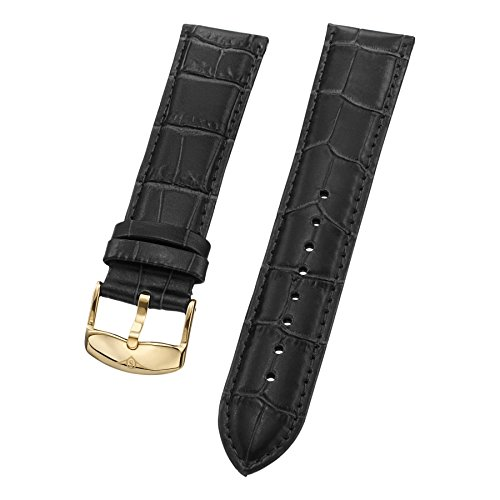 Stuhrling Original Mens Black Leather watch Strap 22mm with Gold Tone Buckle St.133.33352