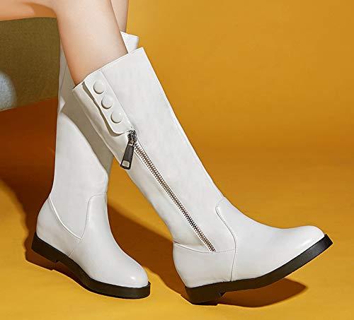 Blanc Bottes Chaussures Femme Rond Bout Agréable Compensées Avec Zip qxtBfXx
