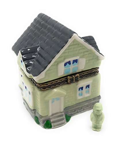 Porcelain 2 Story Cottage / House Hinged Lid Trinket Box with Tiny Trinket Inside, By Artgifts, 2.5