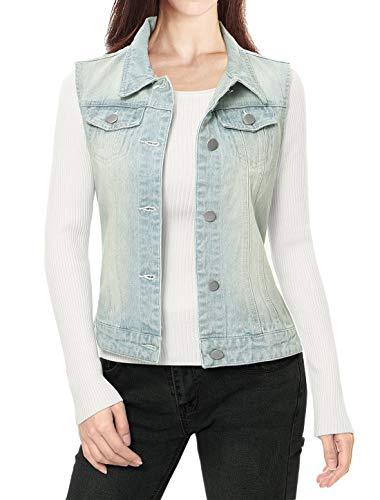 Allegra K Women's Buttoned Washed Denim Vest Waistcoat w Chest Flap Pockets Light Blue