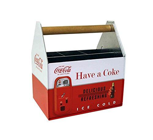 Galvanized Coca Cola Utensil Caddy Coke Flatware Holder