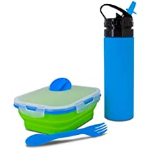 SmartPlanet Kids Collapsible Meal Kit with Water Bottle in Blue