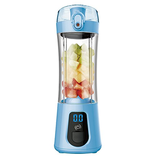 Studyset Electric Juice Bottle Mixer Cup Mini Portable with Power Bank Rechargeable USB Fruit Juicer with Travel Lid and LCD Display for Water, Protein Shakes, Smoothies Blue
