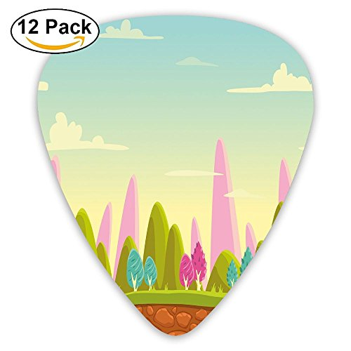 Panorama Landscape (Newfood Ss Fantasy Cartoon Landscape For Kids And Toddlers Colorful Trees Country Panorama Guitar Picks 12/Pack Set)