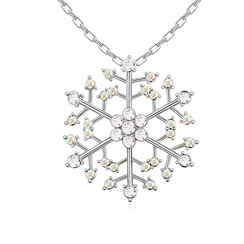 LXIANGP Necklace for Women,Plating Inlaid Crystal Snowflake Pendant Female Necklace Simple Wild Green Jewelry Gift Box Packaging Chain Length 40cm+5cm ()