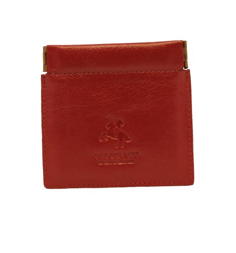 e Quality Small Italian Style Leather Coin Purse Pouch / Change Wallet or Key Holder (Red) ()