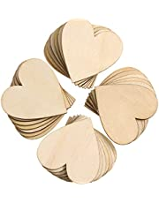 Quesuc 200 Pieces Wood Heart Cutouts Wood Heart Slices Embellishments Ornaments for Wedding, Valentine, DIY Supplies (1.5 Inch)
