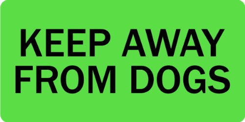 KEEP AWAY FROM DOGS - Veterinary Label / Stickers, 500 labels per roll, 1 roll per package