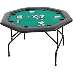 "Dportiucs Games 48"" Octagon Poker Table with Folding Steel Legs and Cup Holders Green"