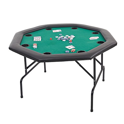 """Dportiucs Games 48"""" Octagon Poker Table with Folding Steel Legs and Cup Holders Green"""