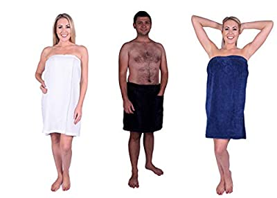 PUFFY COTTON Terry Cotton Shower Spa Wrap, Terry Towel Bath Body Wrap for Women and Men with Adjustable Waist, Terry Sarong Wrap