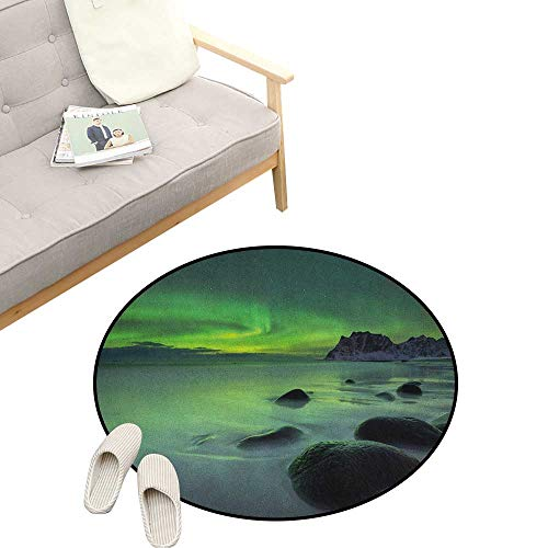 - Aurora Borealis Round Rugs for Bedroom ,Magic Nature Panorama Coastline Oval Energy Sky Mist Picture, Skid Resistant Rug Pet Pad 47
