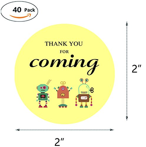 MAGJUCHE Robots Thank You Stickers, Boy or Girl Robot Themed Birthday Party Favor Sticker Labels, 2 Inch, 40-Pack by MAGJUCHE (Image #3)