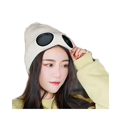 Unisexo Color Sólido Multifuncional Extra Grueso Skullies Gorro de punto Esquiar Sombrero Gorra Con Gafas Y Forro A Prueba De Viento(Beige)