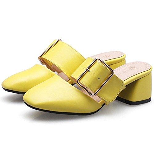 Mules a Femmes RAZAMAZA yellow Enfiler qxUCaCw