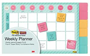 Post-it Notes Weekly Planner, 18 x 12-Inches, 26 Weeks with 6 Pads of 2 x 2-Inches Full Adhesive Notes