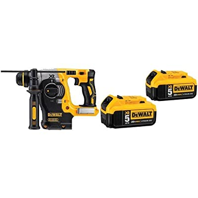 DEWALT DCH273B 20V Max Brushless SDS Rotary Hammer Bare Tool with 20V MAX XR 5.0Ah Lithium Ion Battery, 2-Pack