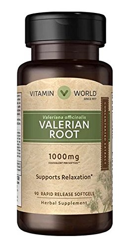 Vitamin World Valerian Root Extract 1000mg Supports Relaxation Herbal Supplement 90 sofgells