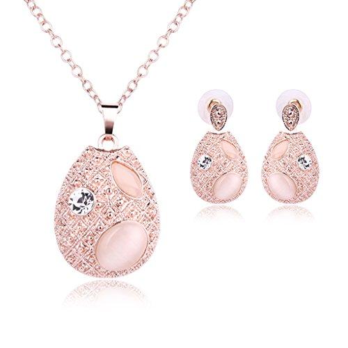 JAGENIE Pink Rhinestone Waterdrop Design Earrings Pendant Necklace Jewelry Set for Women
