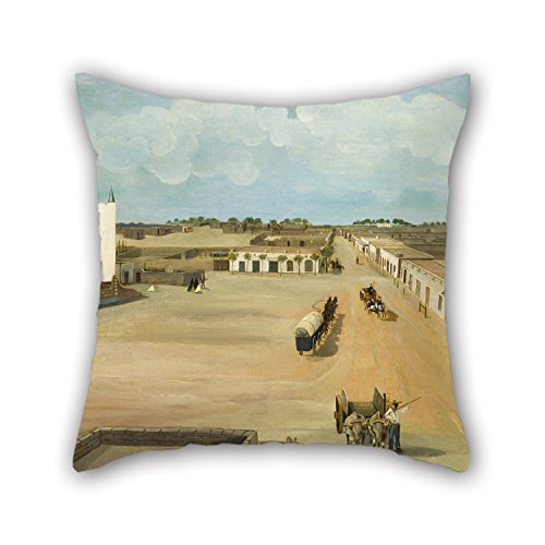Pillowcover Of Oil Painting Leon Trousset - Old Mesilla Plaza 16 X 16 Inches / 40 By 40 Cm,best Fit For Play Room,car Seat,couch,kids Boys,couples,bar Both Sides