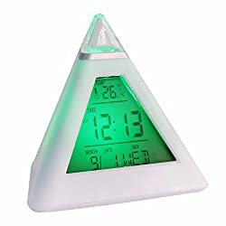 7 LED Change Colors Pyramid LCD Digital Snooze Alarm Clock