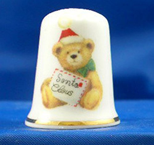 Porcelain China Collectable Thimble -- Christmas Santa Claus Teddy Bear with Free Gift Box