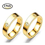Dubeauty Love Ring Lifetime Titanium Stainless Steel Couples Wedding Engagement Anniversary Engraved Bands Gold Size 8