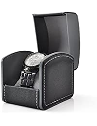 PU Leather Single Bracelet Bangle Jewelry Watch Gift Box (Black)
