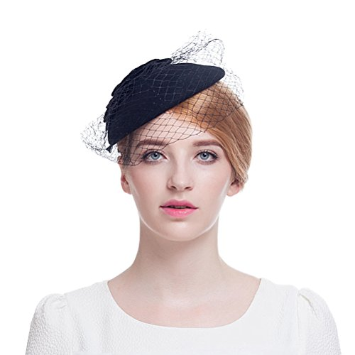 Valdler British Retro Elegant Wool Nylon Hat Feather flower Fascinator coverd with Net Yarn Flowers