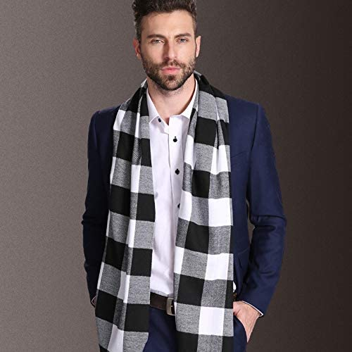 BLACK SethRoberts-Classic Cashmere Feel Mens Winter Scarf in Rich Plaids