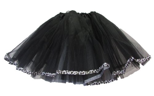 Black Ribbon Lined Dance Tutu with Leopard Trim for (Madonna Dress Up Costumes)