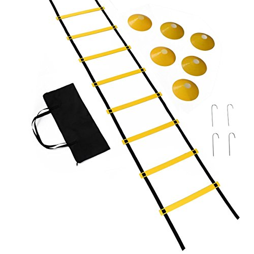 Agility Ladder and Cones, Speed Training Equipment for Football, Soccer and Multi Sports with 4 Hooks & Ultra Strong Carry on Bag – Pro Kit for Speed and Agility (Ropes Training Equipment Football)